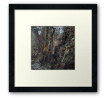Rock climber in blue Framed Print