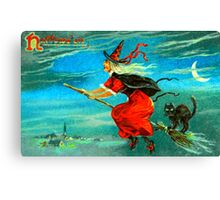 Vintage Halloween Witch Card 0002 Canvas Print