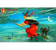 Vintage Halloween Witch Card 0002 Photographic Print