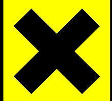 Warning toxic hazard cross. Yellow xx by 2monthsoff