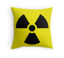 Nuclear bomb danger funny sign Throw Pillow