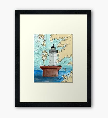 Solomons Lump Lighthouse MD Nautical Chart Peek Framed Print