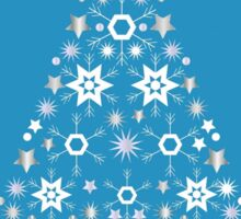 Christmas Tree Made Of Snowflakes On Cerulean Background Sticker