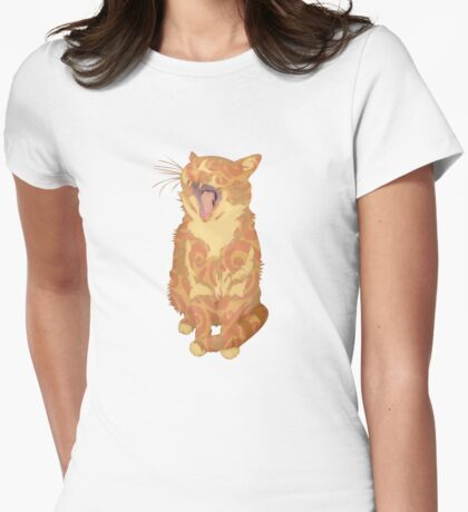 Yawning Cute Pussy Womens Fitted T-Shirt
