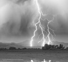Lightning Striking Longs Peak Foothills 6CBW by Bo Insogna