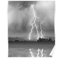 Lightning Striking Longs Peak Foothills 6CBW Poster