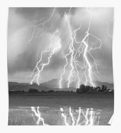 Lightning Striking Longs Peak Foothills  4CBW Poster
