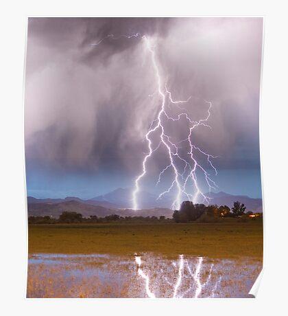 Lightning Striking Longs Peak Foothills 6C  Poster