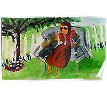 Under the tree on a hot day, watercolor Poster