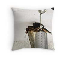 Swallows nesting in a Lampshade Throw Pillow