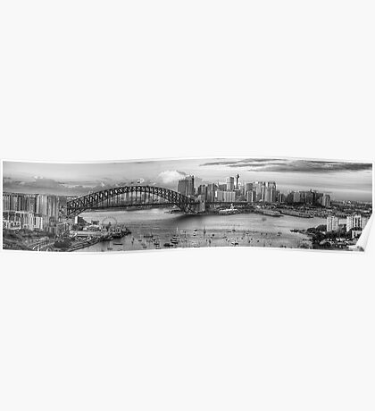 My KInd Of Town - Monochrome  Dreams - Sydney, Australia (20 Exposure Panoramic) The HDR Experience Poster