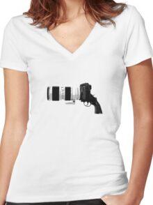 Shoot! (White Barrel) Women's Fitted V-Neck T-Shirt