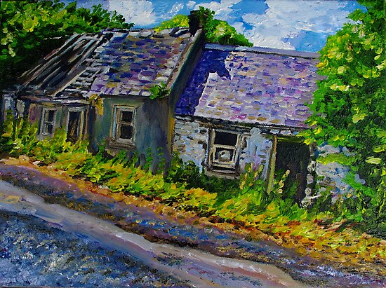 """""""Ruined Cottages, Roadside, Castlelough, County Tipperary."""" by Laura Butler"""