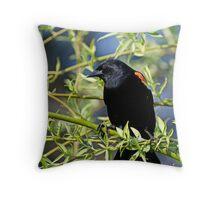 Redwing Blackbird on Bush Throw Pillow