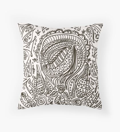 Cute cartoon doodle hipster pattern. Throw Pillow
