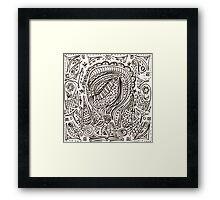 Cute cartoon doodle hipster pattern. Framed Print