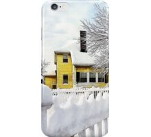 Yellow House with Snow Covered Picket Fence iPhone Case/Skin
