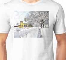 Yellow House with Snow Covered Picket Fence Unisex T-Shirt