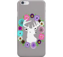 Trendy Stags Head In Pretty Floral Wreath iPhone Case/Skin