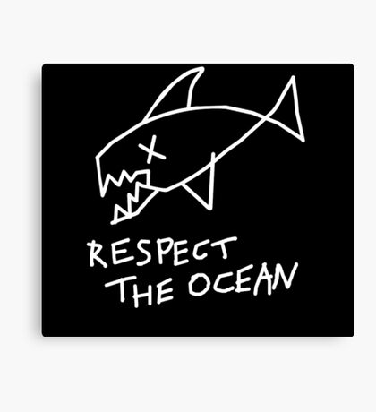 Respect the Ocean - Cool Grunge Mashup - Black Version Canvas Print