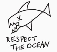 Respect the Ocean - Cool Grunge Mashup - White Version Kids Tee