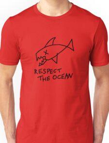 Respect the Ocean - Cool Grunge Mashup - White Version Unisex T-Shirt
