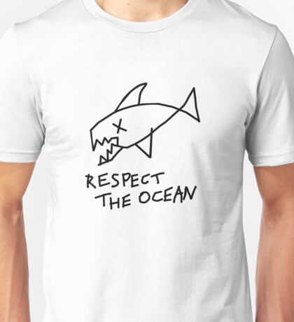 Respect the Ocean - Cool Grunge Mashup - White Version Unisex T-Shirt