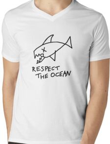 Respect the Ocean - Cool Grunge Mashup - White Version Mens V-Neck T-Shirt