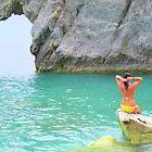 Chillin on a rock...Lalaria Limestone Arch...Skiathos by Honor Kyne