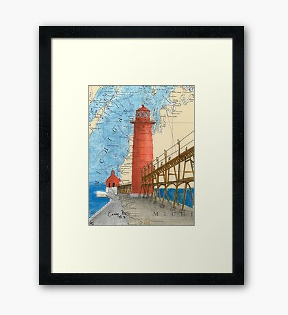 Grand Haven Lighthouse MI Nautical Map Cathy Peek Framed Print