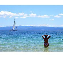 Taking in the view - Koukounaries, Skiathos Island Photographic Print