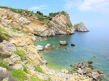 Castro Fortress, Bay and Limestone Cliffs - Skiathos by Honor Kyne