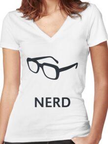 Nerd (Geek / Glasses) Women's Fitted V-Neck T-Shirt