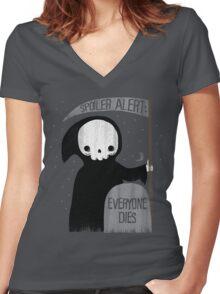 SPOILER ALERT:  EVERYONE DIES Women's Fitted V-Neck T-Shirt