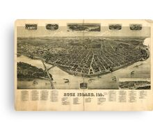 Panoramic Maps Rock Island Ill Canvas Print