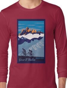 Giro D' Italia Retro  Paso Del Stelvio Cycling Poster Long Sleeve T-Shirt