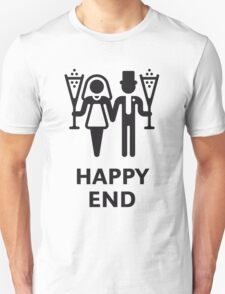 Happy End (Wedding / Marriage / Champagne / White) T-Shirt