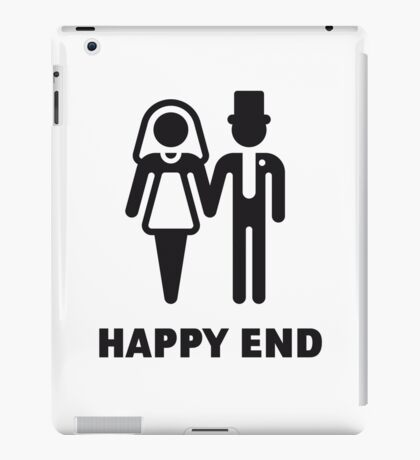 Happy End (Wedding / Marriage / Bridal Pair / Black) iPad Case/Skin