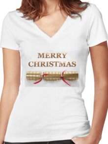 Merry Christmas Cracker in Snow Message Women's Fitted V-Neck T-Shirt