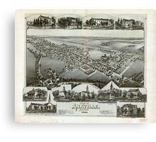 Panoramic Maps View of Annville Pennsylvania 1888 Canvas Print