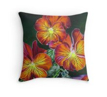 Pansies in Sunset Colors Throw Pillow