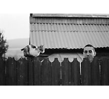 Man with a Cat Photographic Print