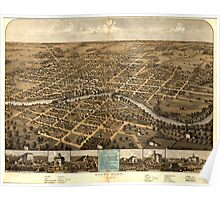 Panoramic Maps South Bend Indiana 1866 Poster