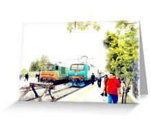 Albano Laziale railway station: trains Greeting Card