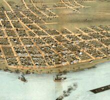 Panoramic Maps Bird's eye view of the city of Rock Island Rock Island County Illinois 1869 Sticker