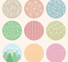 Colorful circles with flower and line patterns by BlueLela