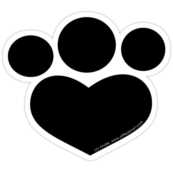 Paw Print Heart Die Cut in Black by offleashart