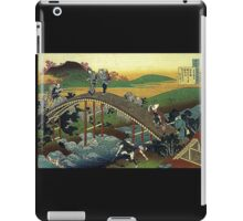 'Travelers on the Bridge Near The Waterfall of Ono' by Katsushika Hokusai (Reproduction) iPad Case/Skin