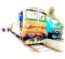 Albano Laziale railway station: trains Photographic Print