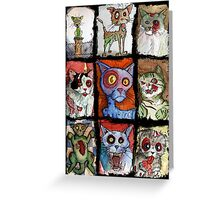 9 zombie cats Greeting Card